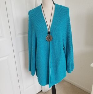 Chico's Long Open Turquoise Cardigan